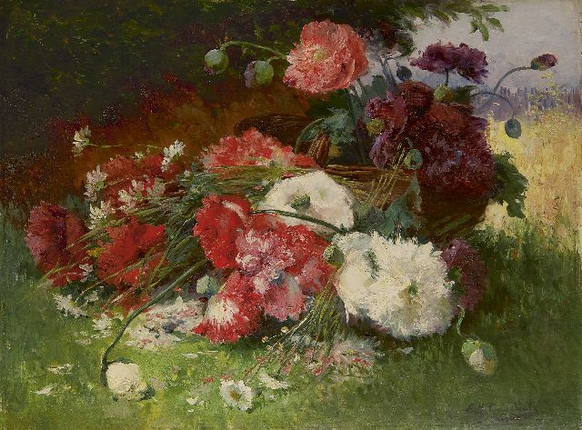 Cauchois E.H.  | A flower still life with poppies and daisies, oil on canvas, 60.4 x 81.3 cm, signed l.r.