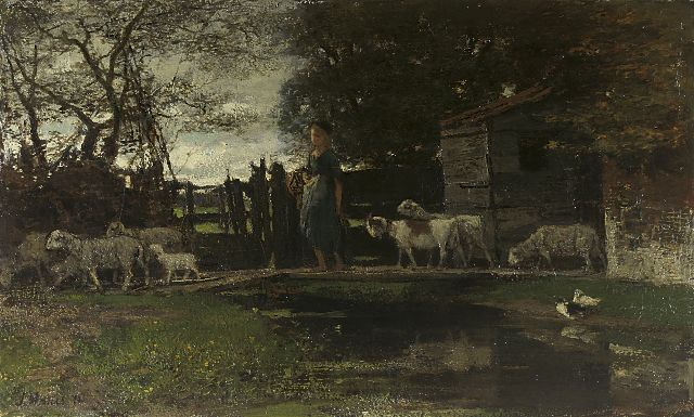 Jacob Maris | Shepherdess with her flock, oil on canvas, 23.8 x 37.8 cm, signed l.l. and dated '72