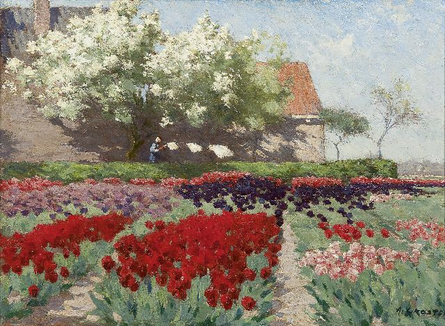 Anton L. Koster | Tulips and fruit trees in bloom, oil on canvas, 32.6 x 43.4 cm, signed l.r.