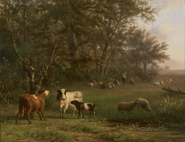 Jan Bedijs Tom | Shepherds with cattle near a stream, oil on panel, 41.2 x 52.4 cm, signed l.r. and dated 1858