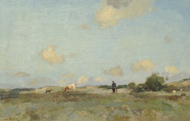 Aris Knikker | A farmer with grazing cattle in the dunes, oil on canvas laid down on board, 24.0 x 36.5 cm, signed l.l. and painted ca. 1920