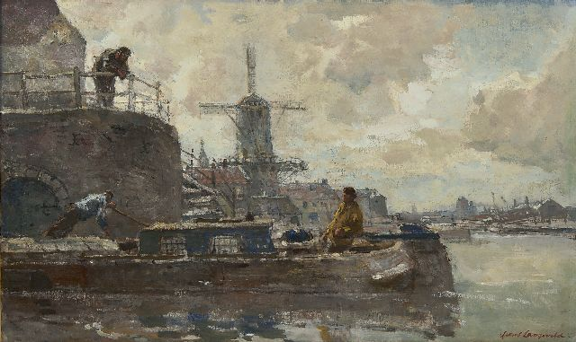 Frans Langeveld | Windmill along the water, Amsterdam, oil on canvas, 48.3 x 80.2 cm, signed l.r.