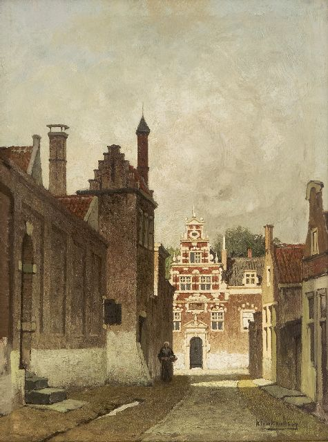 Karel Klinkenberg | A city view in summer (possibly Delft), oil on panel, 33.0 x 24.7 cm, signed l.r.