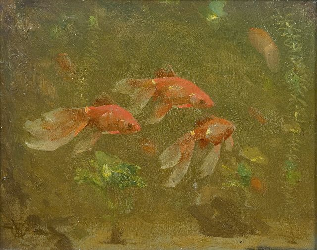 Gerrit Willem Dijsselhof | Veiltails, oil on canvas, 17.6 x 22.0 cm, signed l.l.