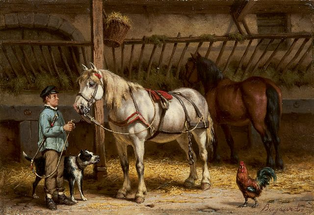 Willem Johan Boogaard | A farm hand with a horse, oil on panel, 17.2 x 24.8 cm, signed l.r.