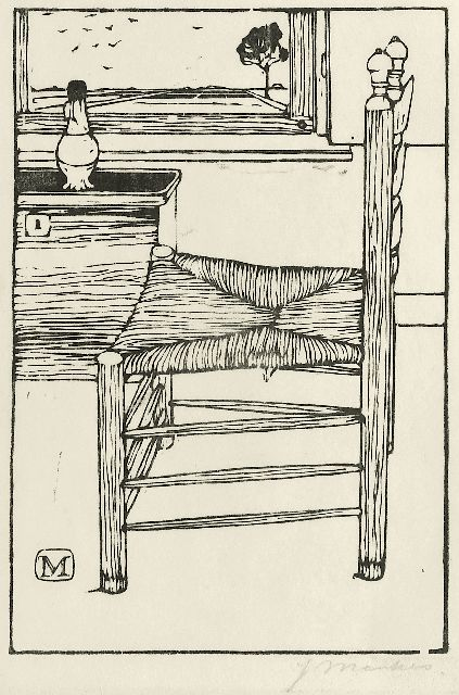 Jan Mankes | Chair, woodcut on paper, 18.4 x 12.6 cm, signed l.r. in full (in pencil) and with ini  in the bloc and executed in 1914