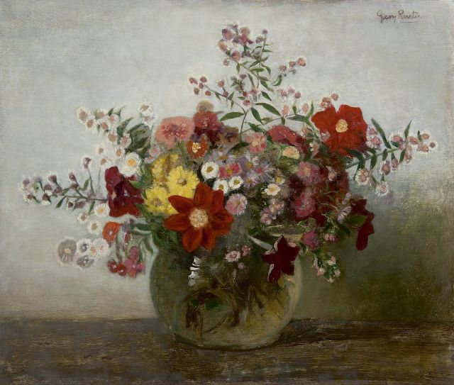 Georg Rueter | Flowers in a glass vase, oil on panel, 43.8 x 51.2 cm, signed u.r.