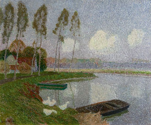 Gustave De Smet | Along the river Leie, near Sint-Martens-Latem, oil on canvas, 50.5 x 60.9 cm, signed l.l. and executed ca. 1913-1914