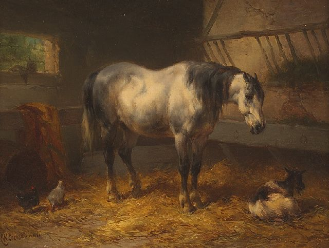 Verschuur W.  | A resting horse in a stable, oil on panel 15.1 x 20.5 cm, signed l.l.
