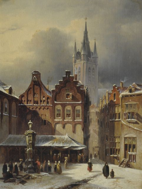 Petrus Gerardus Vertin | A town view in winter with the Oude Kerk of Delft, oil on panel, 24.8 x 18.9 cm, signed l.l. and dated '47
