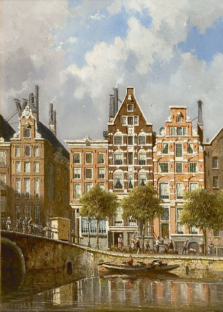 Adrianus Eversen | A view on the Nieuwezijds Voorburgwal, Amsterdam, oil on panel, 37.3 x 26.6 cm, signed l.l. and dated 1882