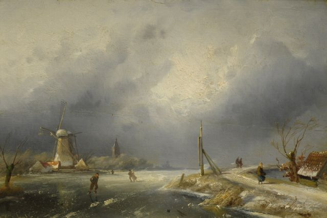 Charles Leickert | Winterlandscape with mill, oil on panel, 21.5 x 32.0 cm, signed l.l.