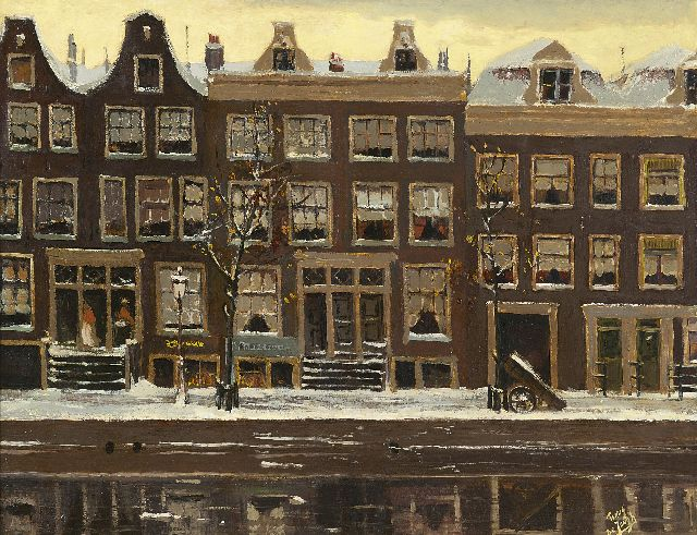 Tinus de Jongh | Canal houses in Amsterdam in winter, oil on board, 43.9 x 57.4 cm, signed l.r.