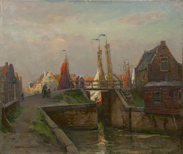 David Schulman | Lock at Spakenburg, oil on canvas, 63.8 x 75.0 cm, signed l.l.