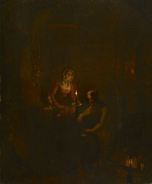 George Gillis Haanen | Tapping wine by candlelight, oil on panel, 58.1 x 47.7 cm, signed l.r. and dated 1837