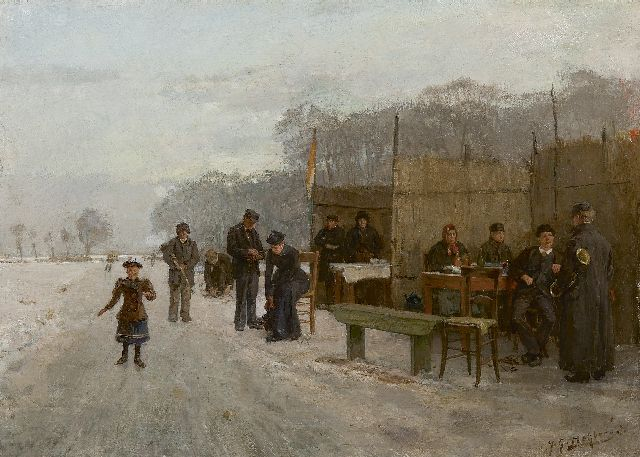 Heijberg J.G.  | Gathering on the ice, oil on canvas 35.0 x 48.4 cm, signed l.r.