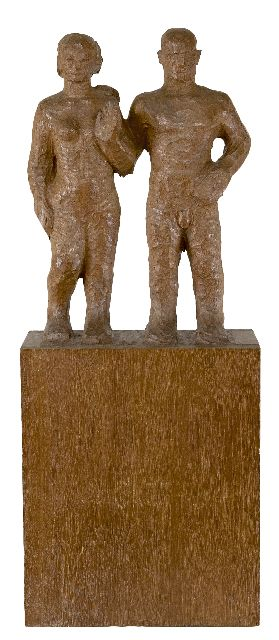 Krop H.L.  | Man and woman, wood 78.4 x 31.2 cm