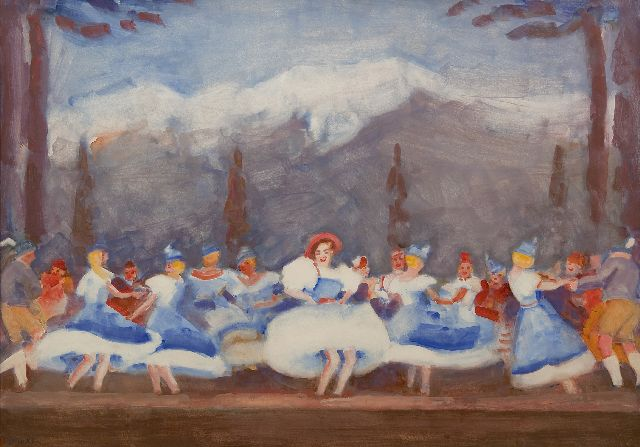 Kees Maks | Tiroler ballet at the Bouwmeester Revue, gouache on paper, 48.0 x 68.0 cm, signed l.l. and painted ca. 1938