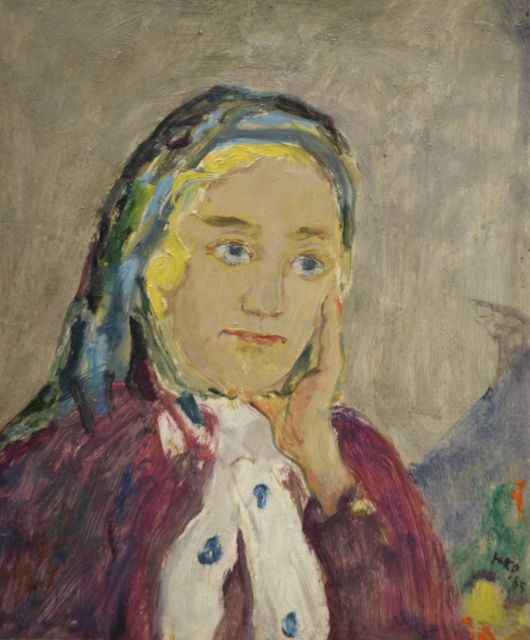 Harm Kamerlingh Onnes | A woman wearing a scarf, oil on board, 27.2 x 22.7 cm, signed l.r. with monogram and dated '65