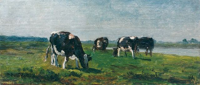 Roelofs W.  | Cows grazing, the river Lek in the distance, oil on panel, 12.4 x 27.5 cm, signed l.l.