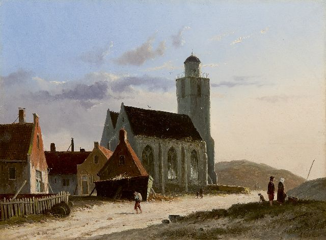 Adrianus Eversen | A view of the Oude Kerk, Katwijk, oil on panel, 23.8 x 31.9 cm, signed l.r.