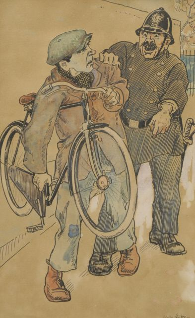 Sluiter J.W.  | The bicycle thief, ink and watercolour on paper 17.2 x 27.6 cm, signed l.r.