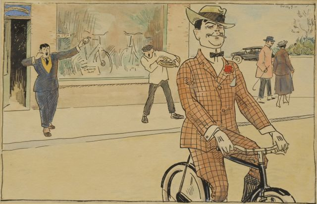 Sluiter J.W.  | The bicycle thief, ink and watercolour on paper 17.3 x 27.5 cm, signed u.r.