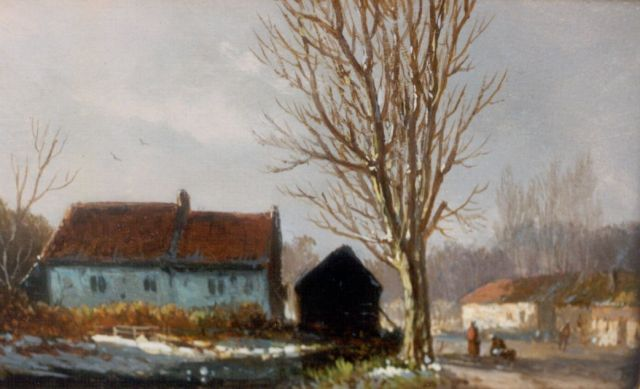 Adrianus Eversen | A winter landscape, oil on panel, 8.7 x 14.4 cm, signed l.r. with monogram