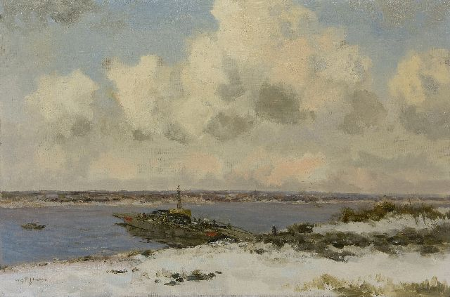 Willem George Frederik Jansen | Ferry in winterlandscape, oil on canvas, 60.5 x 90.5 cm, signed l.l.