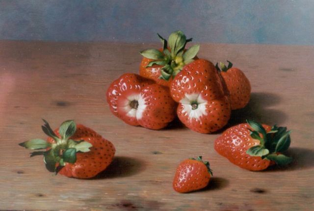 Bubarnik G.  | Strawberries, oil on panel 18.0 x 24.0 cm, signed l.r.