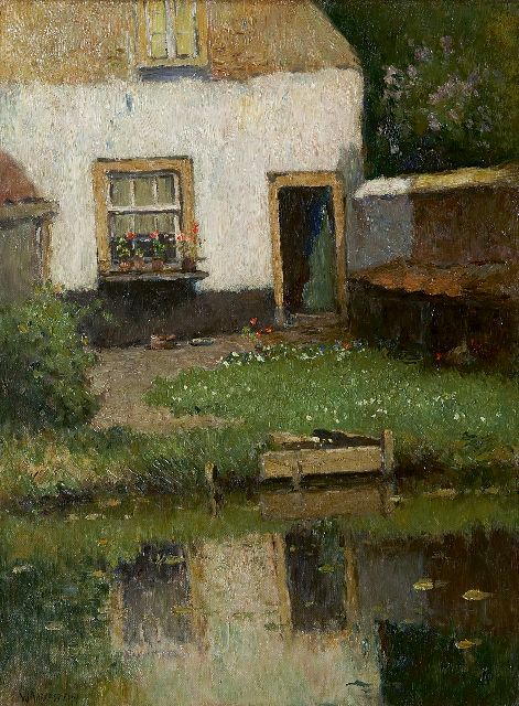 Aris Knikker | A sunny garden near the water, oil on canvas, 40.1 x 30.1 cm, signed l.l. 'W. Markestein' (pseudonym)