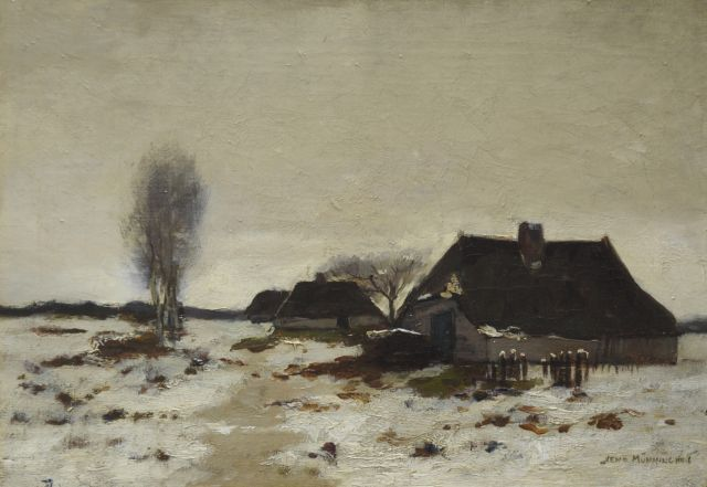 Xeno Münninghoff | Farmhouses in a snowy landscape, oil on canvas, 25.6 x 36.3 cm, signed l.r.