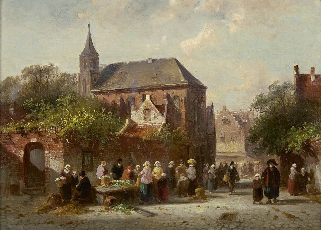 Charles Leickert | Market day near a church on a sunny day, oil on panel, 16.9 x 23.2 cm, signed l.l.