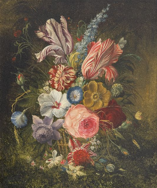 Hollandse School, 19e eeuw   | Still life with flowers, oil on copper 35.7 x 29.9 cm, signed l.l. (unreadable)