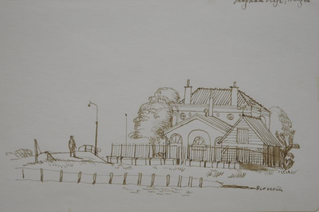Berserik H.  | Alongside the Jaagpad, Delft, pen and ink on paper 15.8 x 23.7 cm, signed l.r. and dated 15 aug '66