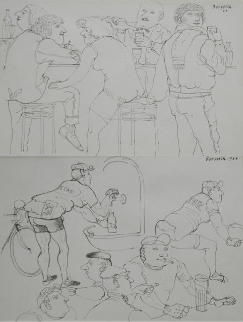 Berserik H.  | At the bar; on the reverse: Biker at the bar, pen and ink on paper 15.8 x 23.7 cm, signed u.r. and both dated 1966