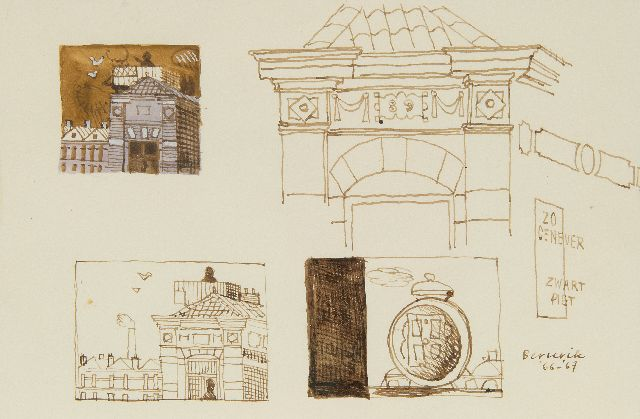 Berserik H.  | Sketches of a town, pen and ink and watercolour on paper 15.8 x 23.7 cm, signed l.r. and dated '66-'67