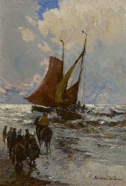 German Grobe | Fishing boats in the surf, Katwijk, oil on panel, 41.0 x 28.5 cm, signed l.r.