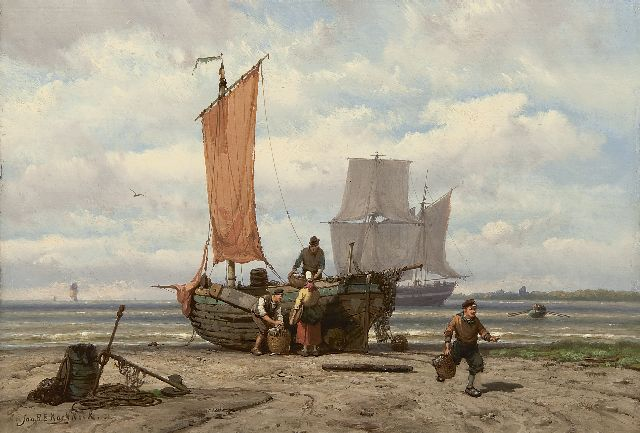 Jan H.B. Koekkoek | Unloading the catch, oil on panel, 23.5 x 34.3 cm, signed l.l.