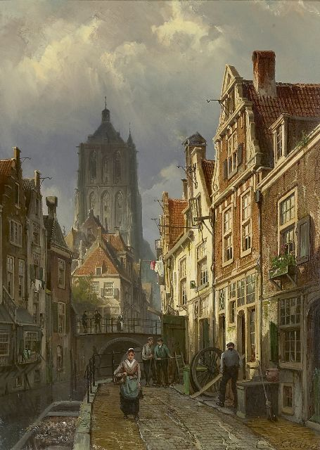 Willem Koekkoek | A Dutch town view with the tower of the St. Catharijnekerk of Brielle, oil on canvas, 60.0 x 43.8 cm, signed l.r.