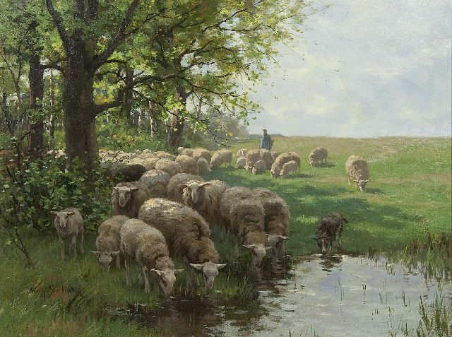 Willem Steelink jr. | A sheperd with flock by at watering place, oil on canvas, 50.5 x 67.5 cm, signed l.l. and dated juli 1914 on the reverse