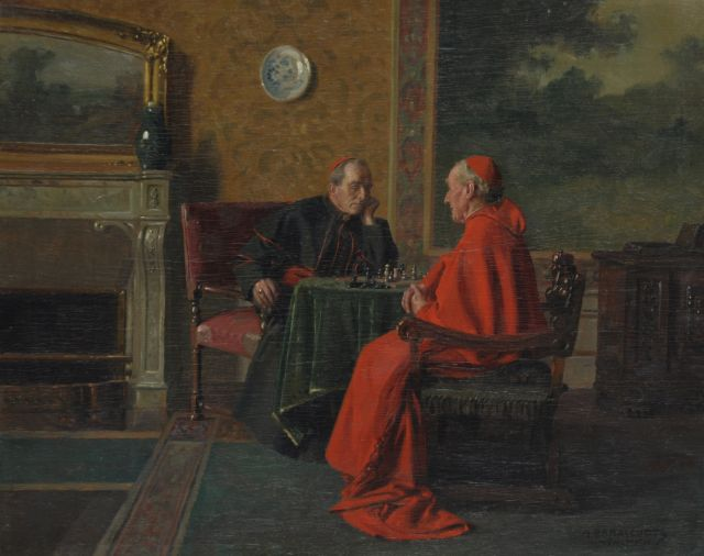 Max Barascudts | Chess playing cardinals, oil on panel, 40.0 x 50.0 cm, signed l.r.