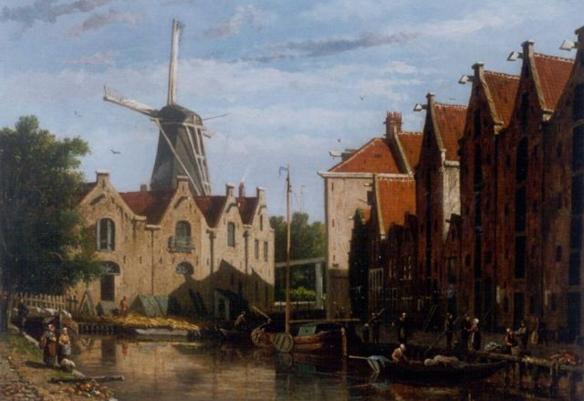 Adrianus Eversen | A view of the Brouwersgracht, Amsterdam, oil on canvas, 31.6 x 41.6 cm, signed l.r.
