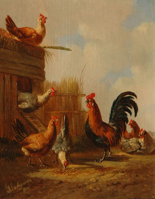 Albertus Verhoesen | A rooster with his chickens (pendant), oil on panel, 12.8 x 10.5 cm, signed l.l. and dated 1861