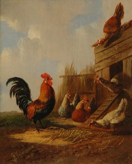 Albertus Verhoesen | The rooster with his hens (pair), oil on panel, 12.7 x 10.5 cm, signed l.l. and dated 1861