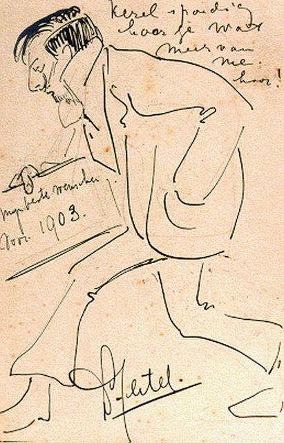 Leo Gestel | The season's greetings 1903, pen and pencil on paper, 14.0 x 9.0 cm, signed l.c.