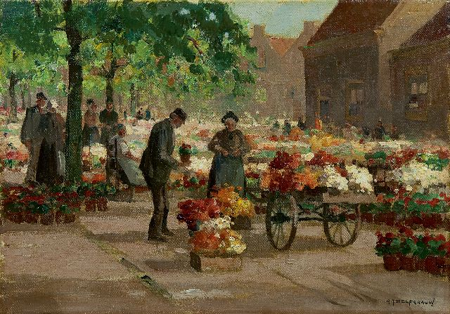 Gerard Delfgaauw | Flower market, oil on canvas, 35.1 x 50.0 cm, signed l.r.