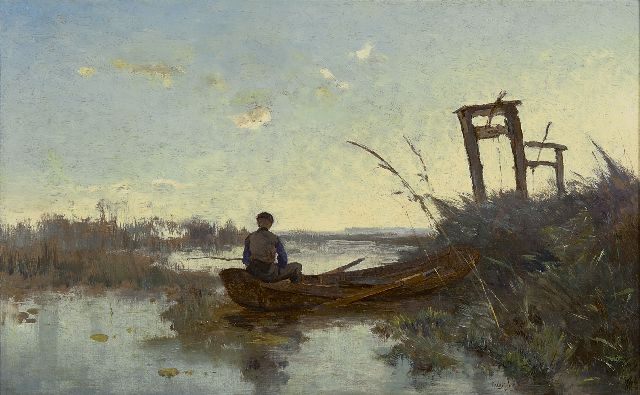 Gabriel P.J.C.  | Fisherman in a Dutch landscape, oil on canvas 29.0 x 46.4 cm, signed l.r. and painted ca. 1875