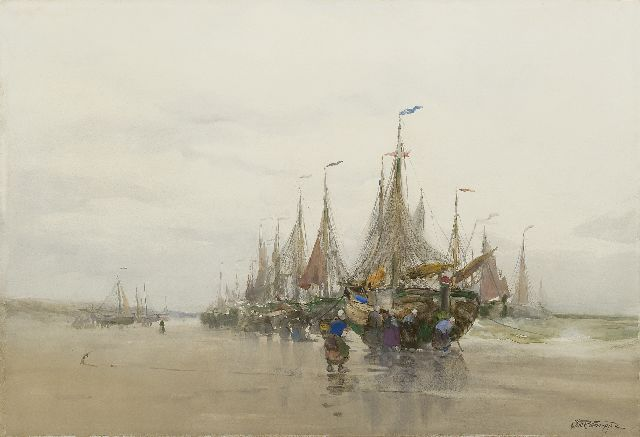 Charles Paul Gruppe | Fishing barges on the beach, watercolour on paper, 39.5 x 58.7 cm, signed l.r.