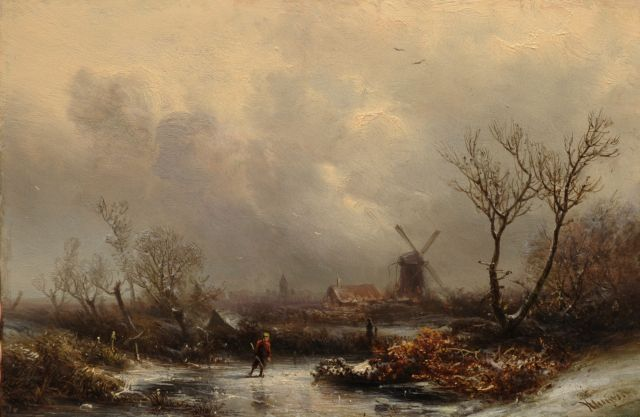 Pieter Kluyver | Skater in a winter landscape, oil on panel, 20.2 x 30.4 cm, signed l.r.